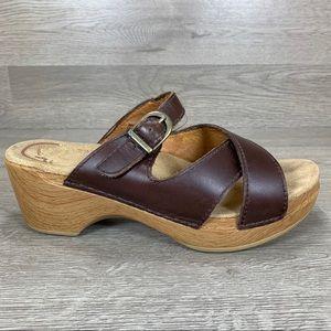 Dansko Womens Leather Wodden Block Heels